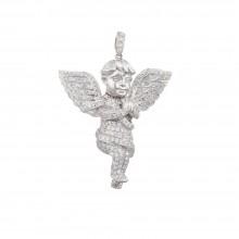 1.8 Inch Diamond Angel Pendant White 14K Gold 1.18 Ct Micro Pave' 6.57 Gr