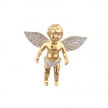 1 Inch Diamond Angel Pendant Yellow 10K Gold Micro Pave' 7.2 Gr