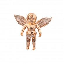 1.5 Inch Diamond Angel Pendant Rose 14K Gold 1.13 Ct Micro Pave' 22.8 Gr