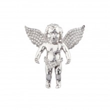1.5 Inch Diamond Angel Pendant White 14K Gold .69 Ct Micro Pave' 11.3 Gr