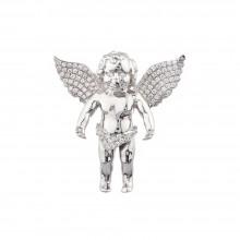 1.5 Inch Diamond Angel Pendant White 14K Gold .69 Ct Micro Pave' 11.3 Gr