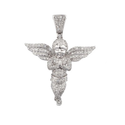 2 Inch Diamond Angel Pendant White 10K Gold 2.1 Ct Micro Pave' 6.9 Gr