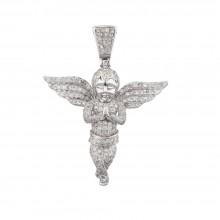 2 Inch Diamond Angel Pendant White 10K Gold 2.1 Ct Micro Pave' 6.9 Gr