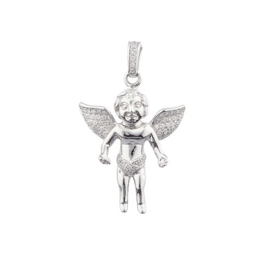 1.7 Inch Diamond Angel Pendant White 14K Gold .24 Ct Micro Pave' 4.31 Gr