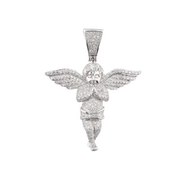 1.7 Inch Diamond Angel Pendant White 10K Gold 1.0 Ct Micro Pave' 4.8 Gr