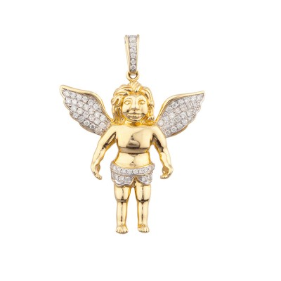 1.9 Inch Diamond Angel Pendant Yellow 14K Gold .86 Ct Micro Pave' 11.59 Gr