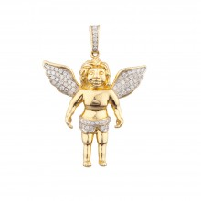 1.9 Inch Diamond Angel Pendant Yellow 14K Gold .86 Ct Micro Pave' 11.59 Gr