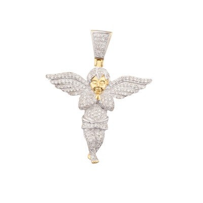 1.7 Inch Diamond Angel Pendant Yellow 10K Gold 1.0 Ct Micro Pave' 4.8 Gr