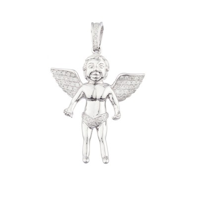 1.9 Inch Diamond Angel Pendant White 14K Gold .66 Ct Micro Pave' 8.88 Gr