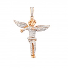 2 Inch Diamond Angel Pendant Rose 14K Gold 1.14 Ct Micro Pave' 7.45 Gr