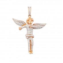 2 Inch Diamond Angel Pendant Rose 14K Gold 1.14 Ct Micro Pave' 7.45 Gr