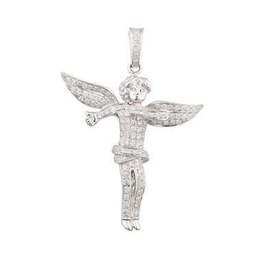 1.9 Inch Diamond Angel Pendant White 14K Gold 1.12 Ct Micro Pave' 7.36 Gr