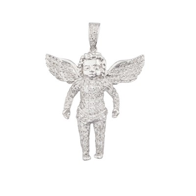 1.6 Inch Diamond Angel Pendant White 10K Gold 1.0 Ct Micro Pave' 4.9 Gr