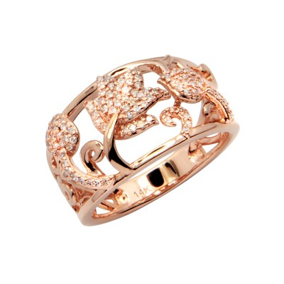 Diamond Ring Rose Gold S.C 0.26ct Micro Pave'