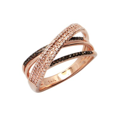 Diamond Ring Rose Gold BD 0.1ct & SCD 0.3ct Prong & Channel