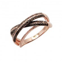 Diamond Ring Rose Gold BD 0.29ct & SCD 0.20ct Micro Pave' & Channel