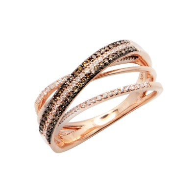 Diamond Ring Rose Gold BD 0.19ct & SCD 0.16ct Micro Pave' & Channel