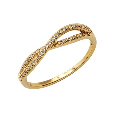 Diamond Ring Yellow Gold SCD 0.13ct Micro Pave'