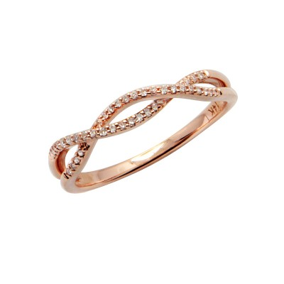 Diamond Ring Rose Gold SCD 0.1ct Micro Pave'