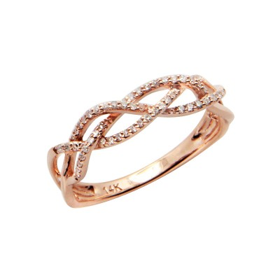 Diamond Ring Rose Gold SCD 0.16ct Micro Pave'