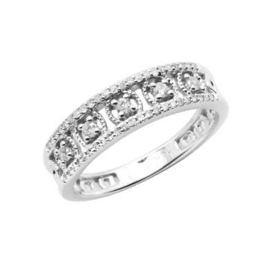 Diamond Ring White & Rose Gold D 0.1ct & SCD 0.13ct Prong & Micro Pave'