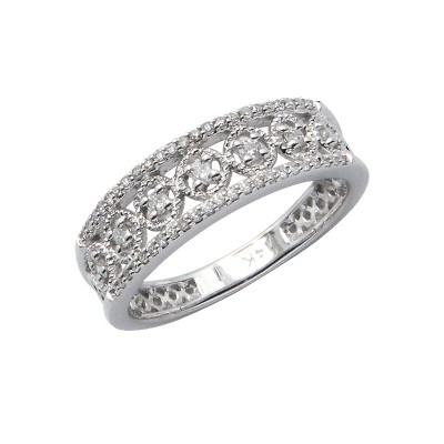 Diamond Ring White Gold D 0.1ct & SCD 0.1ct Prong & Micro Pave'