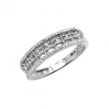 Diamond Ring White & Rose & Yellow Gold D 0.1ct & SCD 0.1ct Prong & Micro Pave'
