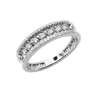 Diamond Ring White & Rose Gold D 0.1ct & SCD 0.1ct Prong & Micro Pave'