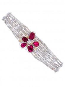 White, Yellow & Red Flower Bracelet