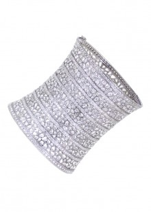 White Diamond Thick Bangle Bracelet