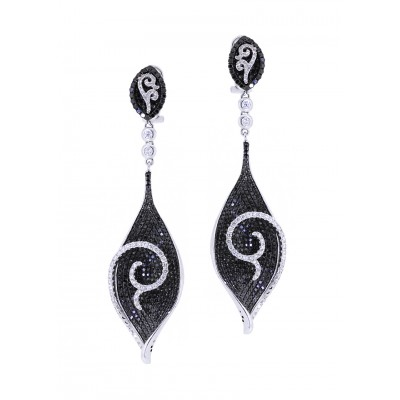 Black & White Diamond Dangle Earrings
