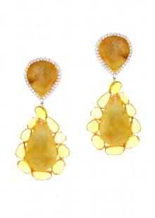 White & Yellow Dangle Earrings