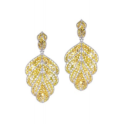 White & Yellow Leaf-shaped Earrings