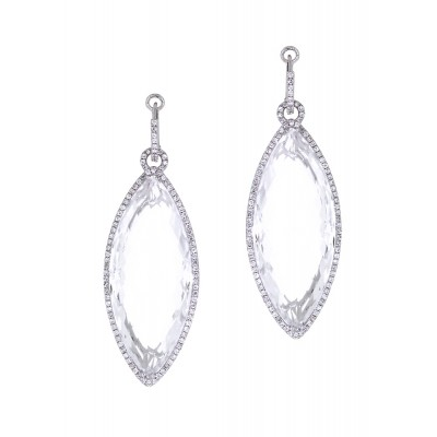 White Oval Diamond Earrings