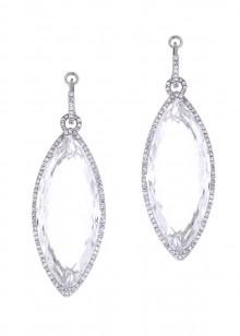 White Oval Diamond Earrings