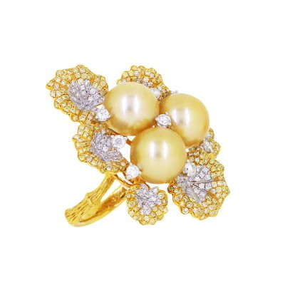 Yellow & White Diamond Ring With Pearls