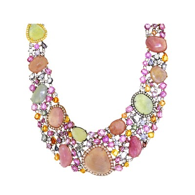Multi-Colored Diamond & Gem Necklace