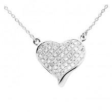 Diamond Heart Charm White & Yellow 14K Gold D 0.13 ct 54 Stones Micro Pave' 1.72g