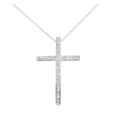 Diamond Cross Charm White 14K Gold D 0.08ct 33 Stones Micro Pave' 1.76g