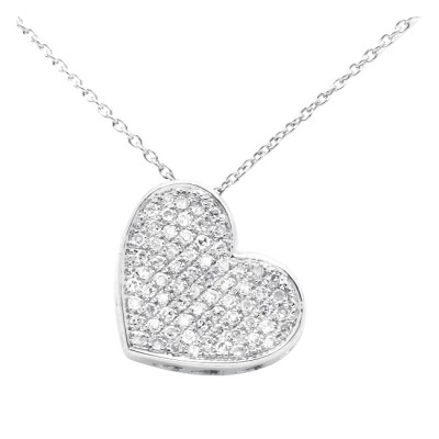 Diamond Heart Charm White & Rose 14K Gold D 0.18 ct 71 Stones Micro Pave' 2.28g