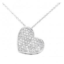 Diamond Heart Charm White & Rose 14K Gold D 0.18 ct 71 Stones Micro Pave' 2.28g