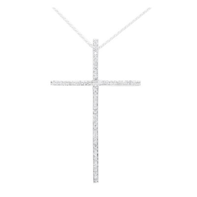 Diamond Cross Charm White 14K Gold D 0.15ct 59 Stones Micro Pave' 2.13g