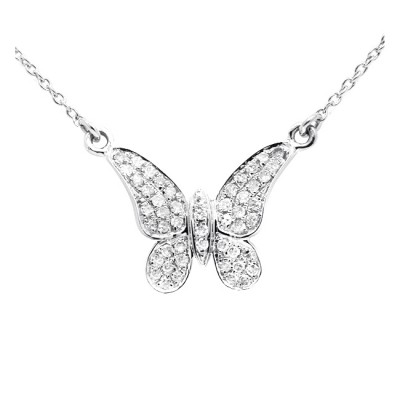 Diamond Butterfly Charm White, Yellow & Rose 14K Gold D 0.12ct 50 Stones Micro Pave' 1.3g