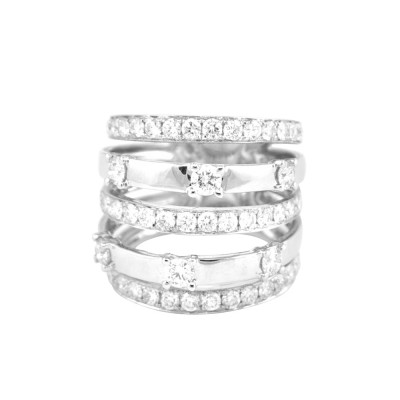 Diamond Cocktail Ring White Gold 2.33 CT Micro Pave' & Pave' 10.33 Gr