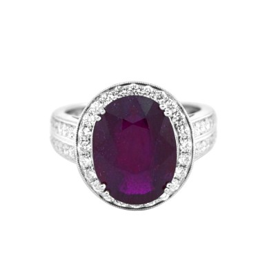 Diamond & Ruby Cocktail Ring White Gold .92 CT Prong 6.58 Gr