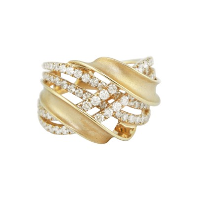 Diamond Cocktail Ring Yellow Gold 1.54CT Micro Pave' 8.52 Gr