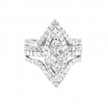 Diamond Cocktail Ring White Gold 2.81 CT Micro Pave' 10.3 Gr