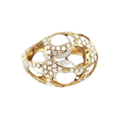 Diamond Cocktail Ring Yellow Gold 1.43CT Micro Pave' 5.83 Gr