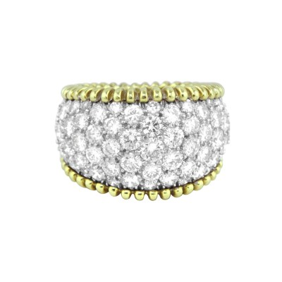 Diamond Cocktail Ring White & Yellow Gold 5.6 CT Micro Pave' 11.0 Gr