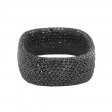 Diamond Cocktail Ring Black Gold 10.84 CT Micro Pave' 17.78 Gr